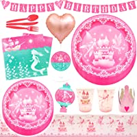 75Pcs Princess Birthday Party Supplies Set Decorations For 6 Guests Disposable Dinnerware Kit Tablecloth Paper Plates…