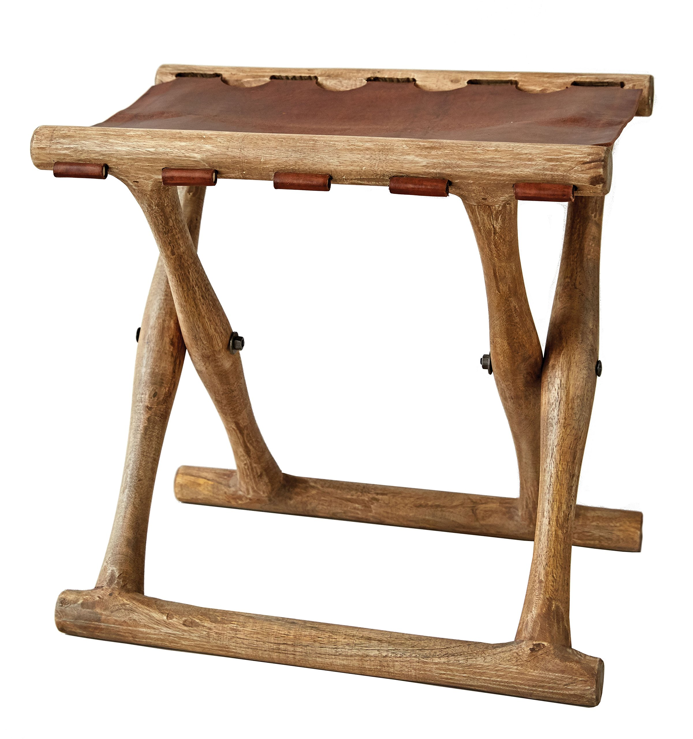 Creative Co-op Acacia Wood & Leather Folding Stool by Creative Co-op