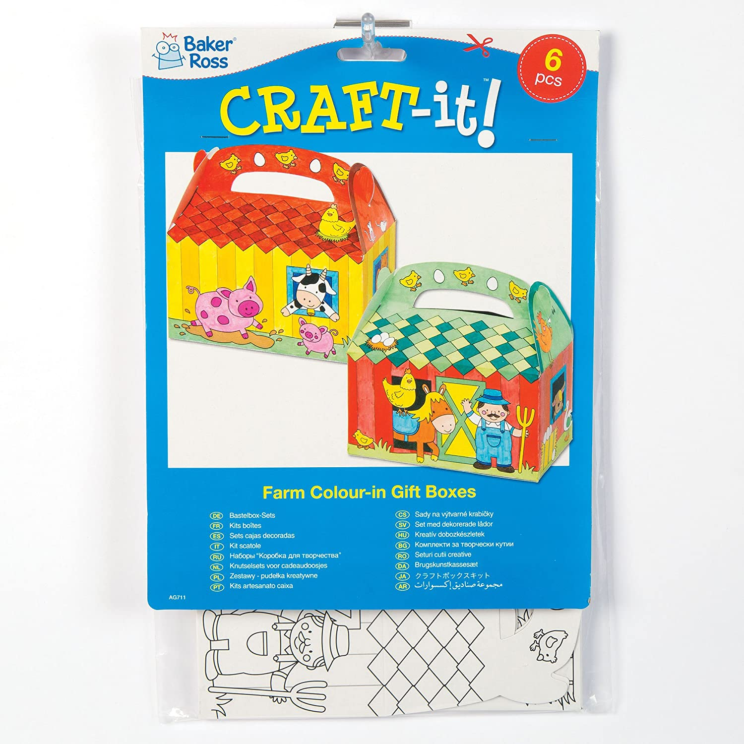 Amazon.com: Farm Color-in Card Gift Boxes for Children to Assemble Colour-in and Decorate (Pack of 6): Toys & Games