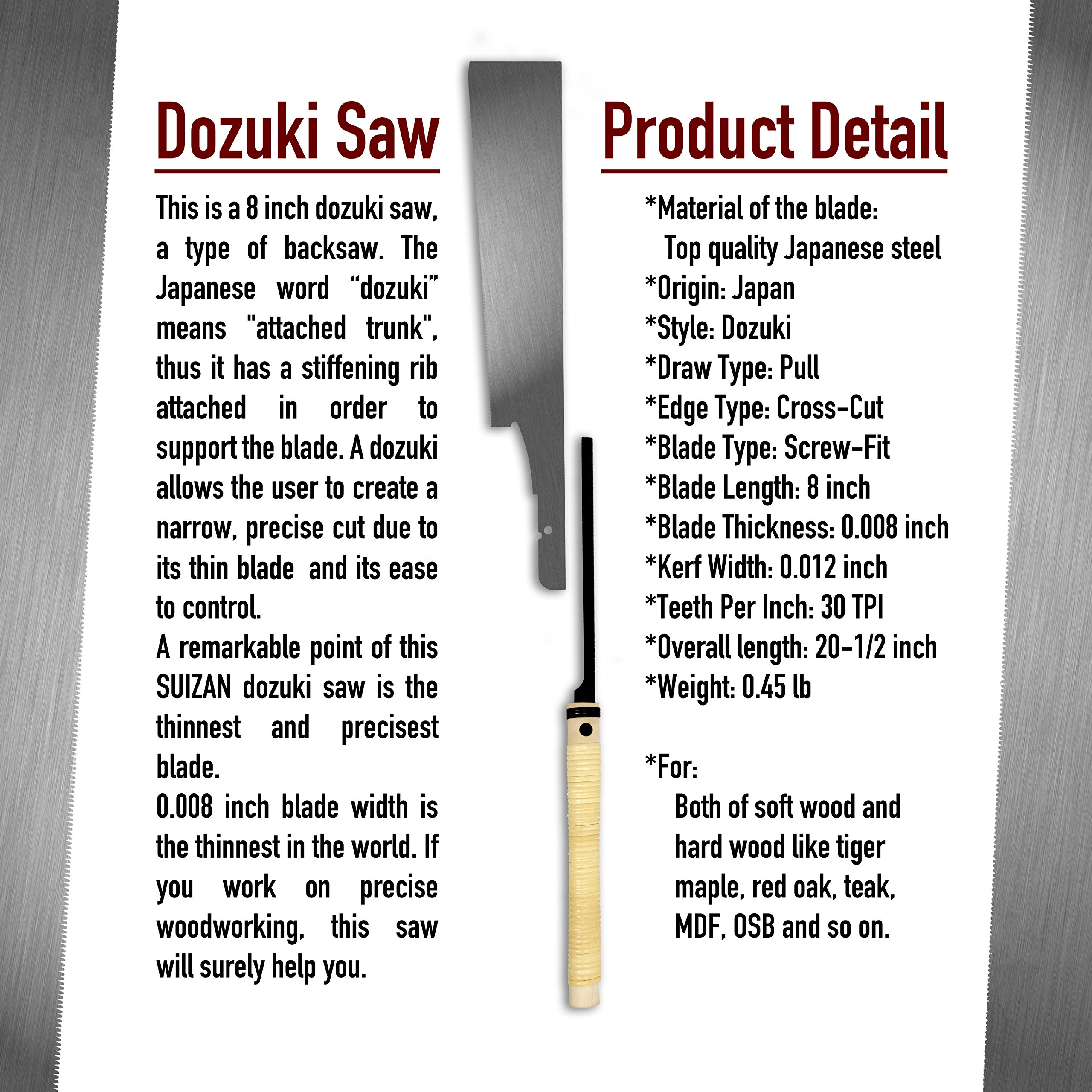 SUIZAN Japanese Hand Saw 8 Inch Ultra Fine Cut Dozuki Dovetail 0.2mm Blade Pull Saw for Woodworking by SUIZAN (Image #3)