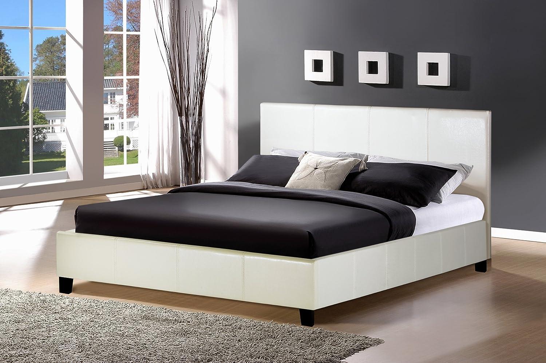 birlea berlin bed  faux leather white double amazoncouk kitchen home. birlea berlin bed  faux leather white double amazoncouk