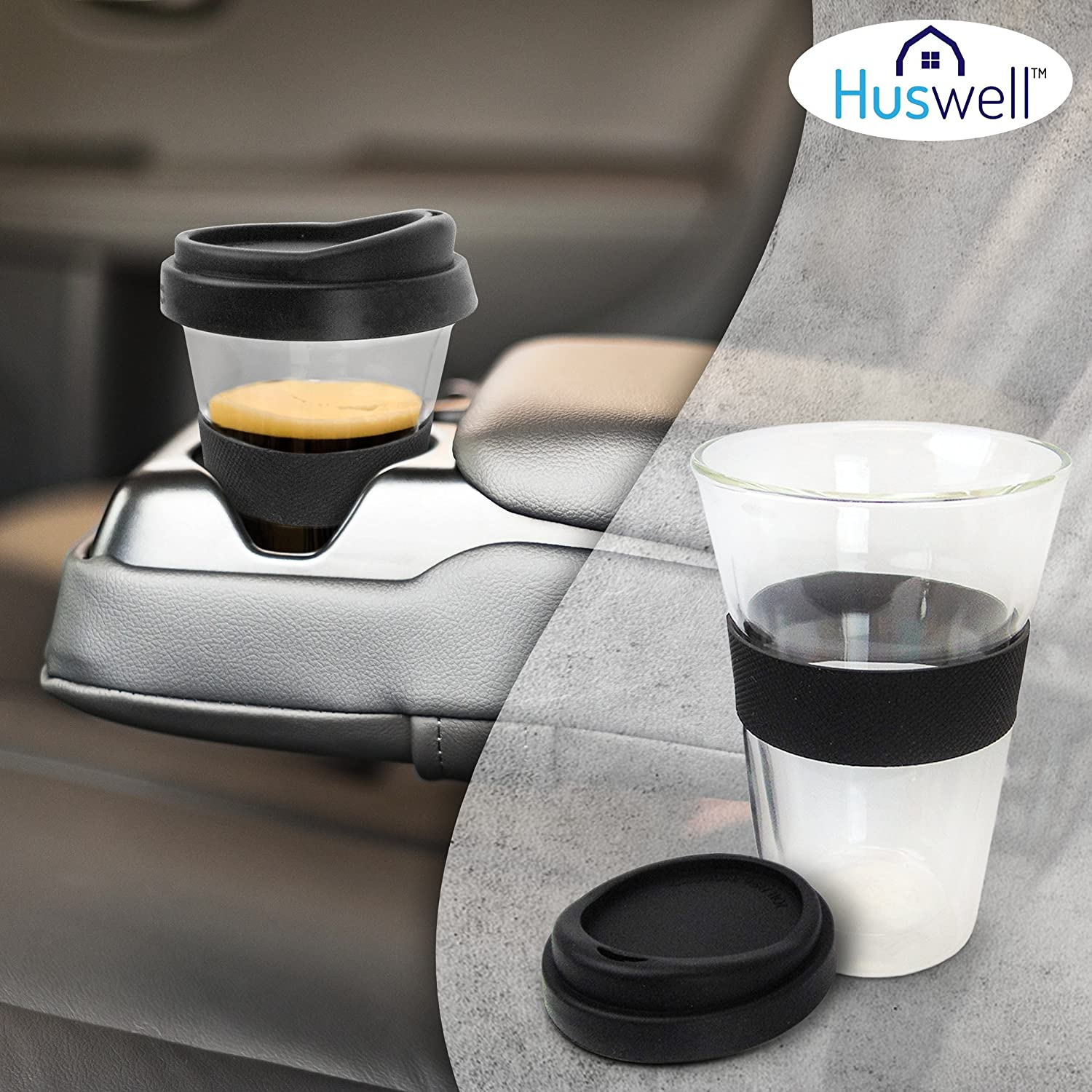 Double wall coffee cup likewise vintage pyrex clear glass refrigerator - Amazon Com Huswell Insulated Double Wall Glass Coffee Travel Tumbler 10 Oz Kitchen Dining