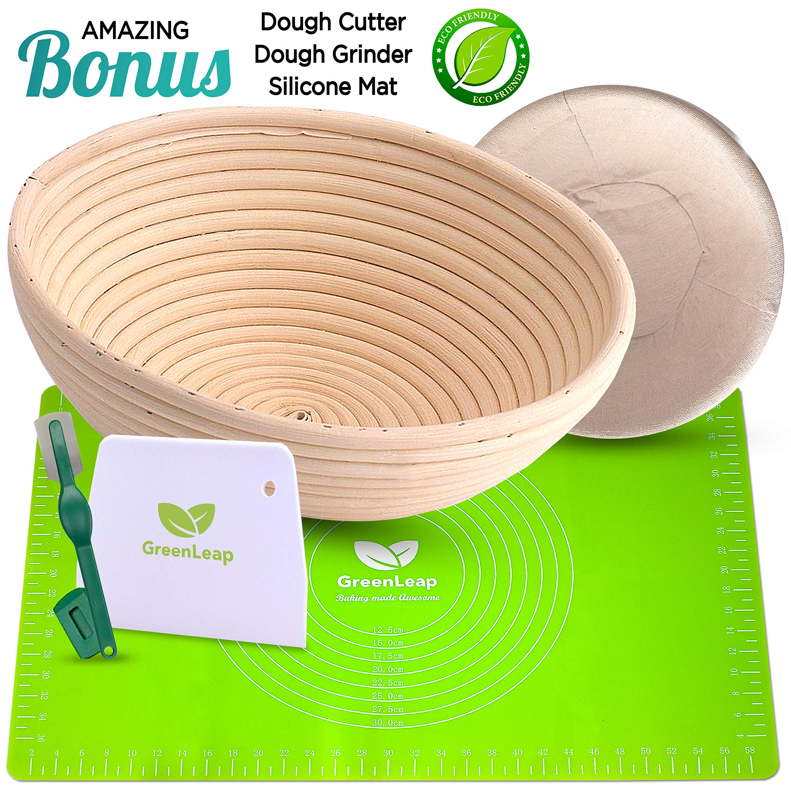 9 Inch Round Bread Proofing Basket - Rattan Banneton - For Professional and Home Use. Create Traditional Bread with this Artisan Baking Tool - 3 Accessories Plus Bonus Premium Silicone Baking Mat. by GreenLeap