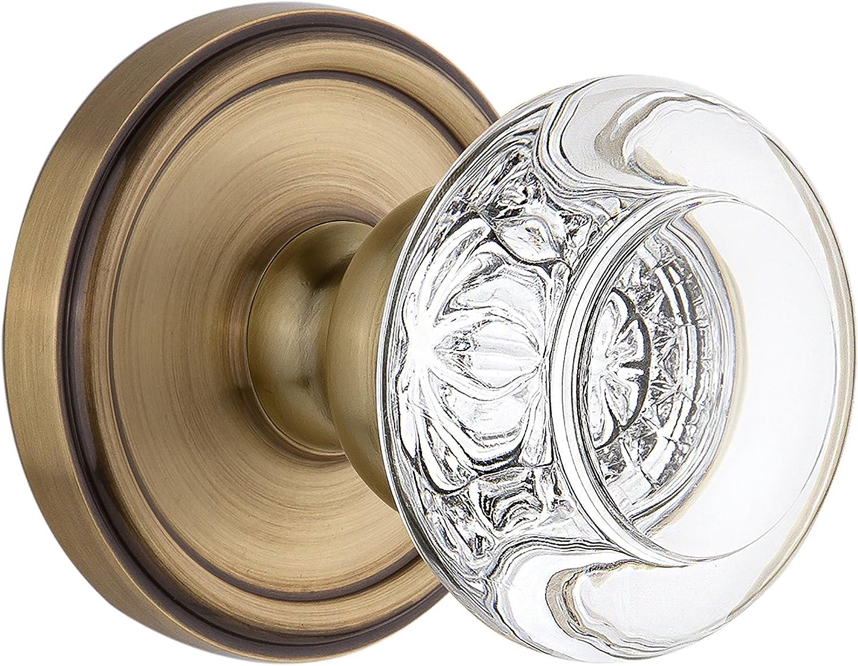 Grandeur Newport Rosette with Grande Victorian Knob 2.375 Lifetime Brass Passage