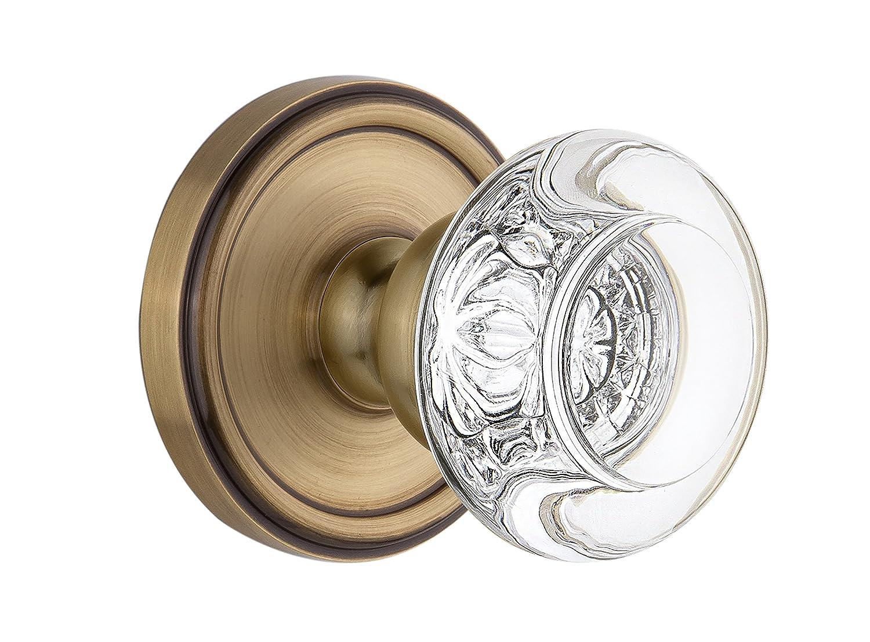 Grandeur Georgetown Rosette with Bordeaux Crystal Knob Passage Vintage Brass 2.375