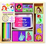 Melissa & Doug Disney Princess Wooden Stamp Set: 9 Stamps, 5 Colored Pencils, and 2-Color Stamp Pad