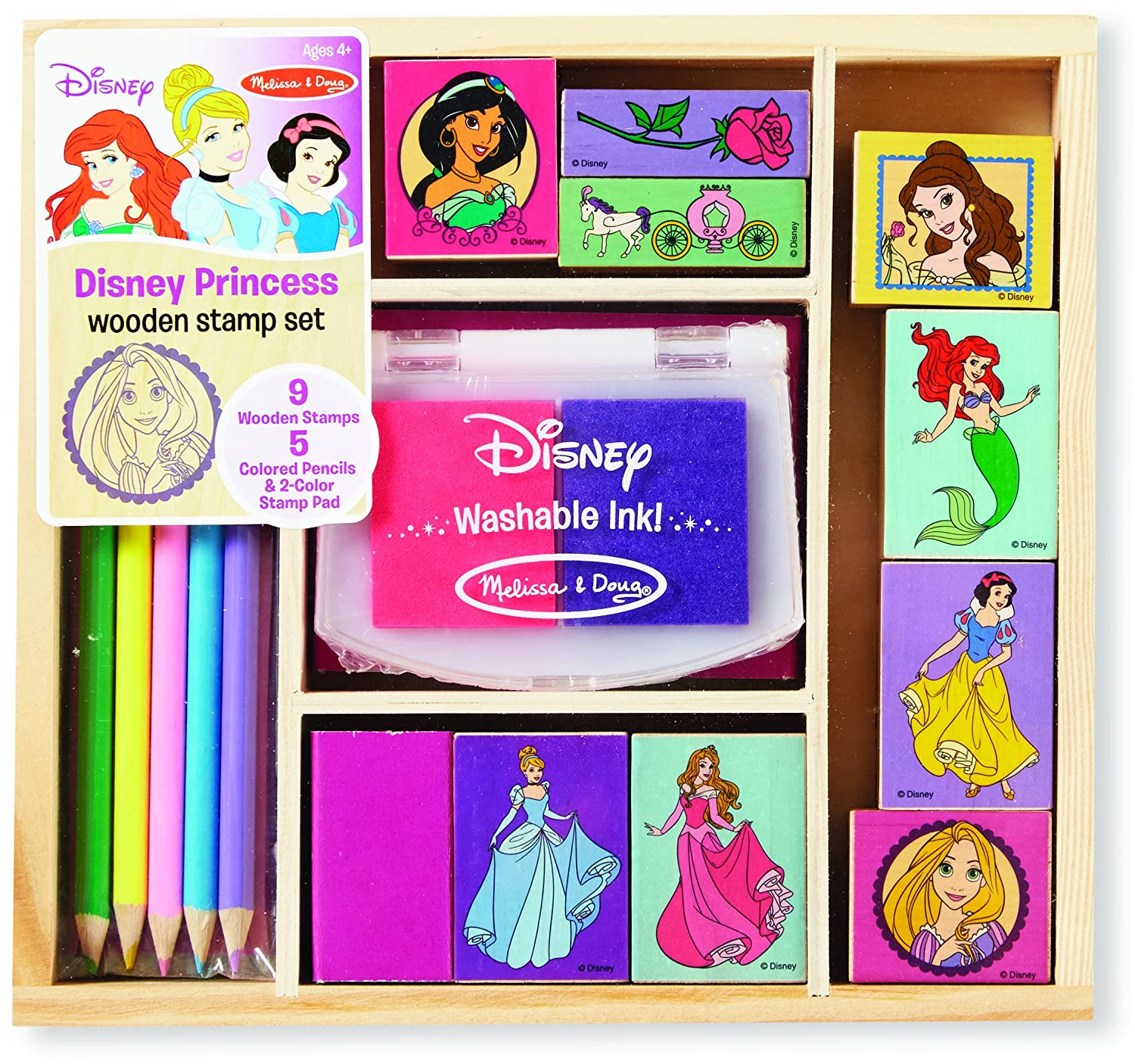 Princess coloring set - Amazon Com Melissa Doug Disney Princess Wooden Stamp Set 9 Stamps 5 Colored Pencils And 2 Color Stamp Pad Melissa Doug Toys Games