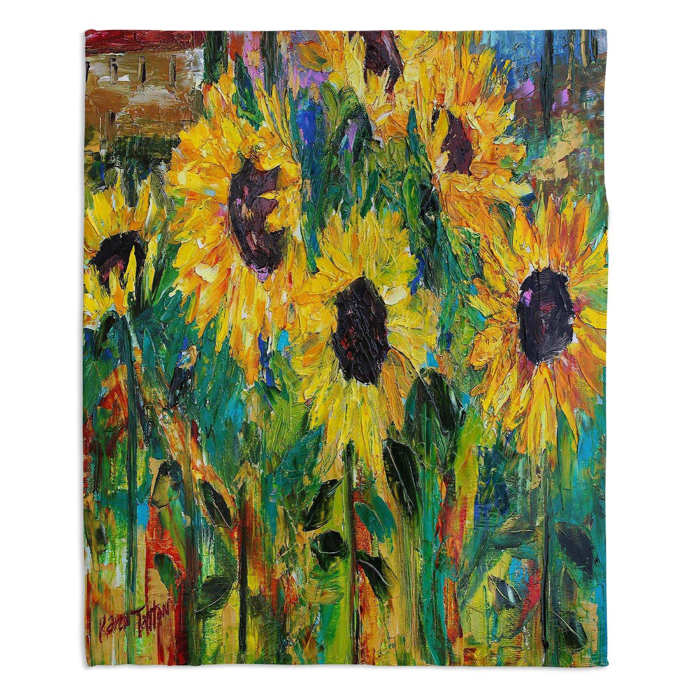 ブランケットウルトラソフトFuzzy 4サイズダイアノウチェデザインズ – Karen Tarlton Sunflower Sunshineホーム装飾寝室ソファスローブランケット Large 80