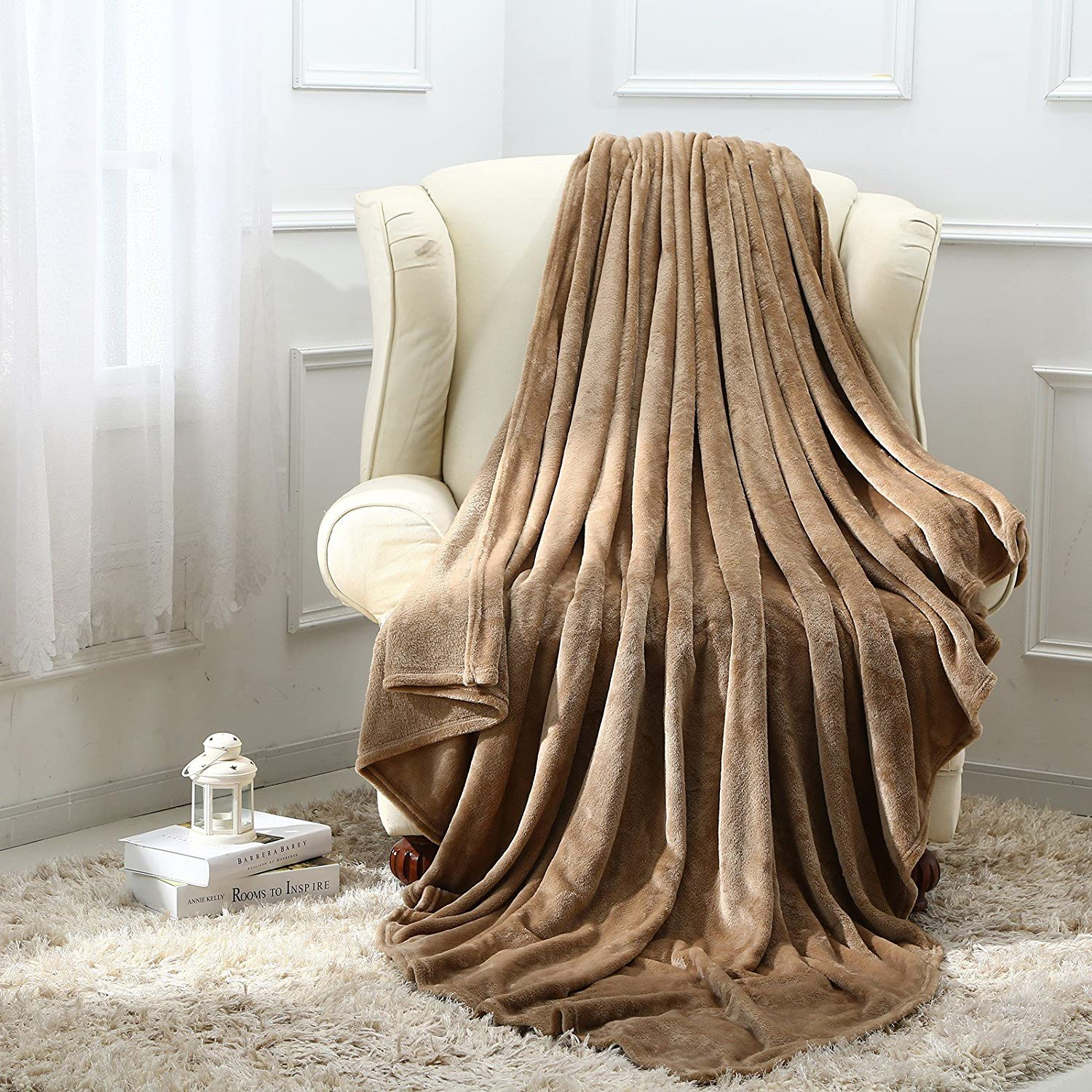 Moonen Flannel Throw and Blanket Luxurious Full Size Camel Lightweight Plush Microfiber Fleece Comfy All Season Super Soft Cozy Blanket for Bed Couch and Gift Blankets (Camel, W60 x L80)