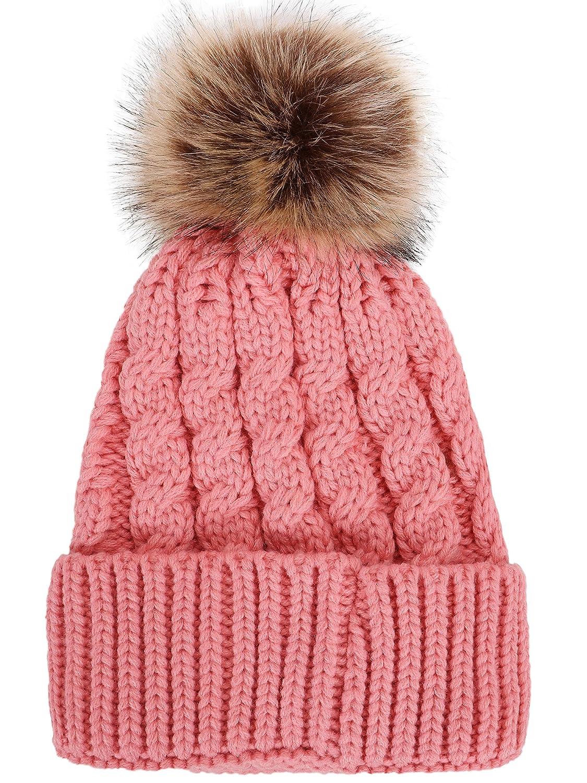 Simplicity Womens Winter Hand Knit Faux Fur Pompoms Beanie Hat Black ... 0cbb0e07d22a