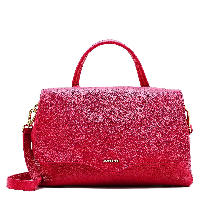 MANSUVIL 女性の牛革ハンドバッグ, 一つのショルダーバッグ, メッセンジャーバッグ, 本物のレザーバッグ B077ZS44D6