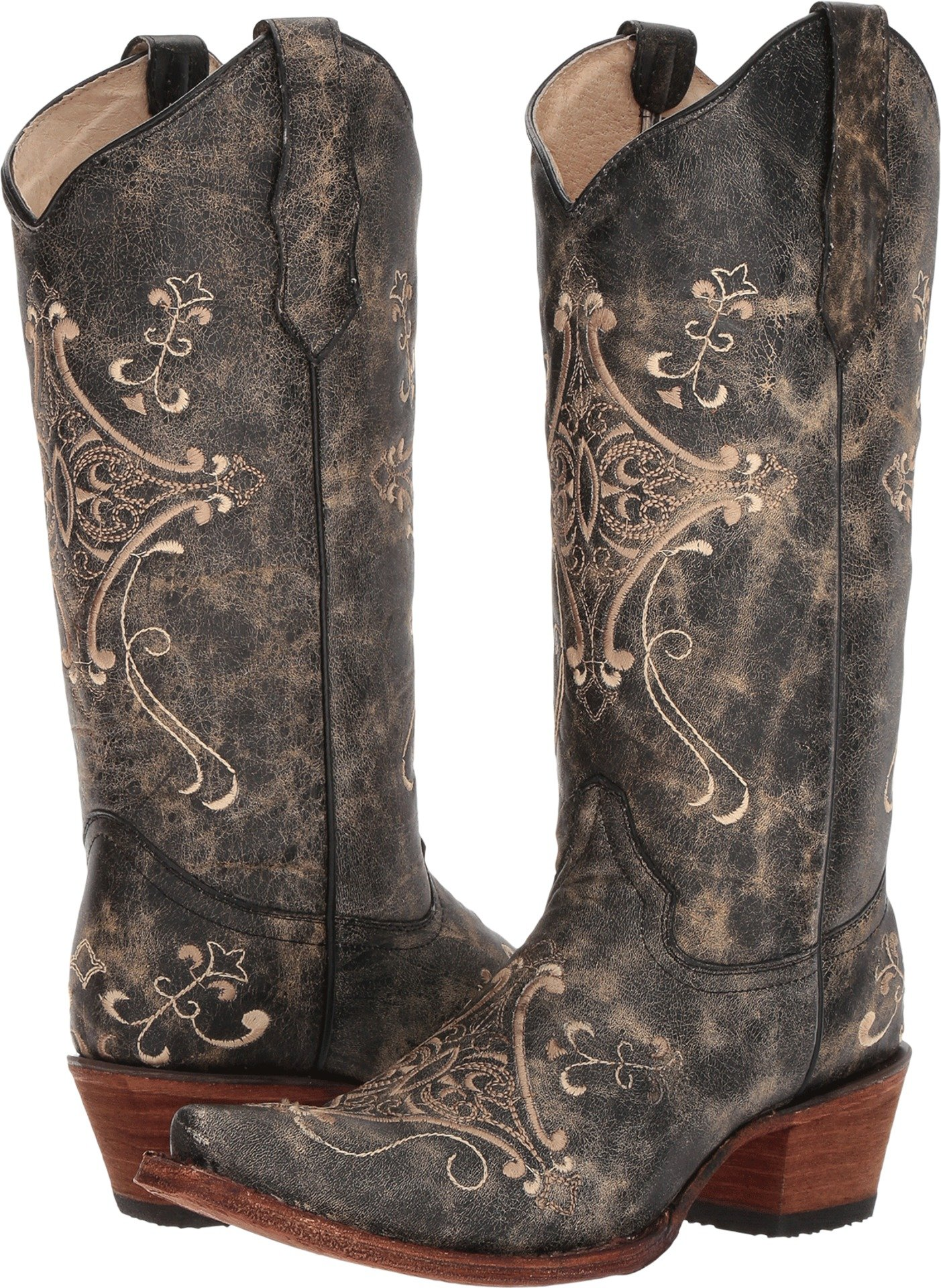 Circle G Women's Crackle Embroidered Western Boots Size 8.5M, Black