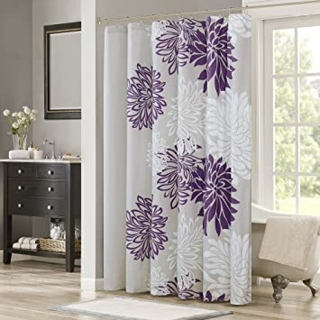 purple and grey shower curtain. Comfort Spaces  Enya Shower Curtain Purple Grey Floral Printed 72x72 inches Amazon com