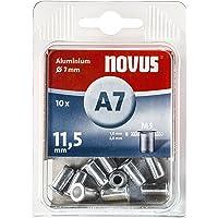 Novus Blindklinkmoer Ø7 mm aluminium, 10 klinkmoeren, M5 schroefdraad, 11,5 mm lengte, voor kunststof en lichtgewicht…