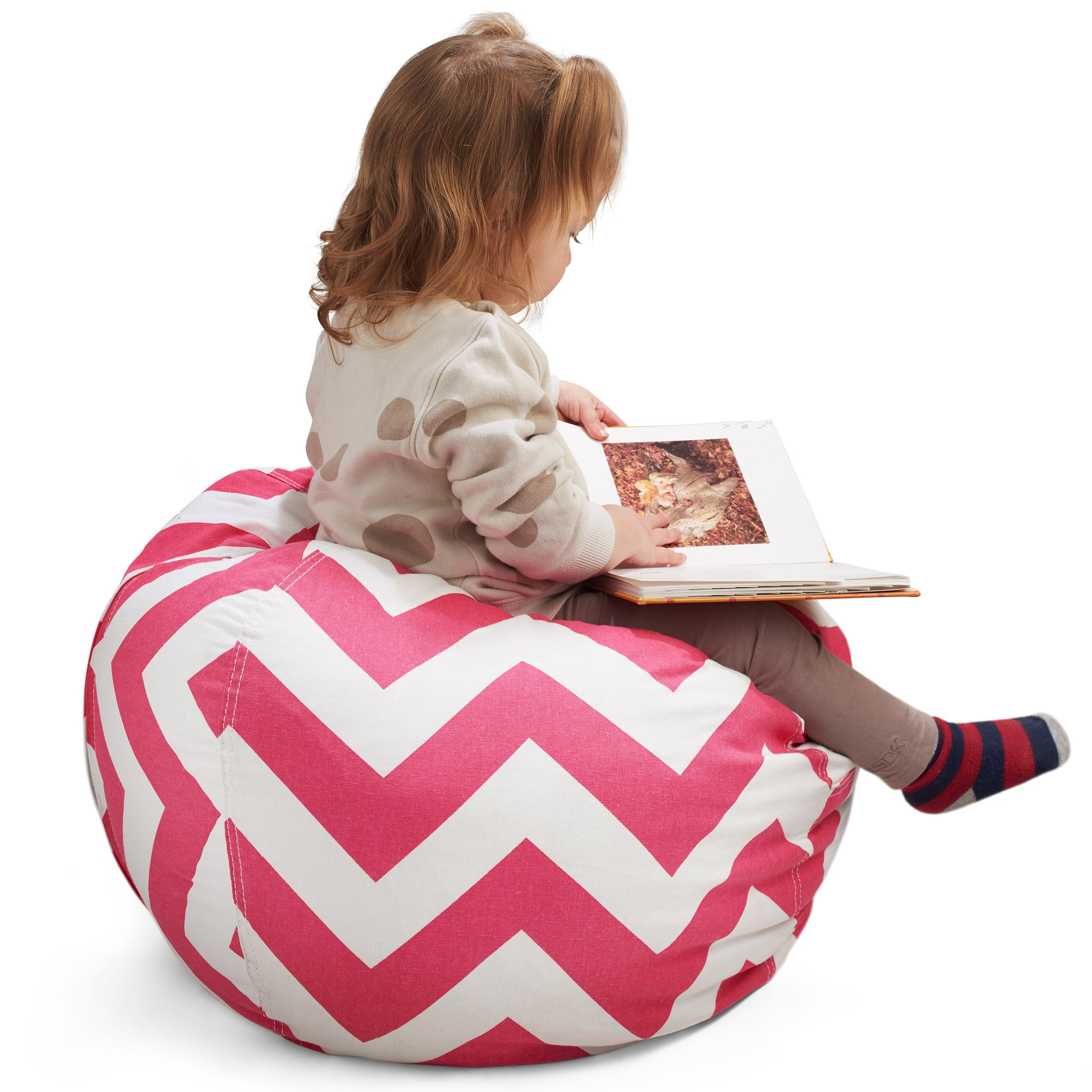 Smart Additions Bean Bag Chair - Bean Bag for Stuffed Animal Storage, Stuff and Sit Bean Bag Cover for Kids, Toy Storage Bean Bag Chair, Bright Color Zigzag Bean Bag Toy Organizer, Red - Large