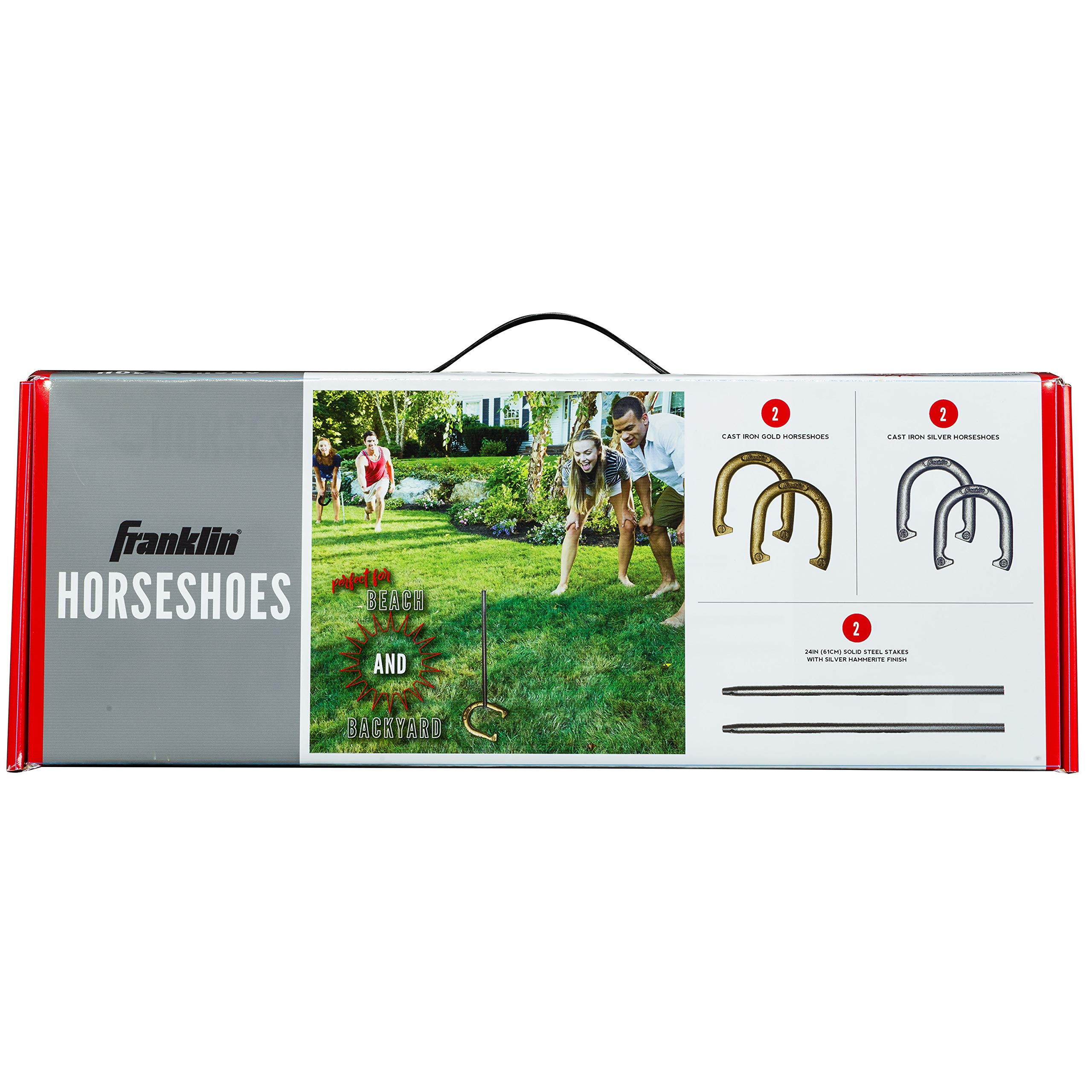 Franklin Sports Horseshoes Set - Includes 4 Official Size and Weight Iron Horseshoes and 2 Steel Stakes - Beach or Backyard Horseshoe Play - Starter Set by Franklin Sports (Image #6)