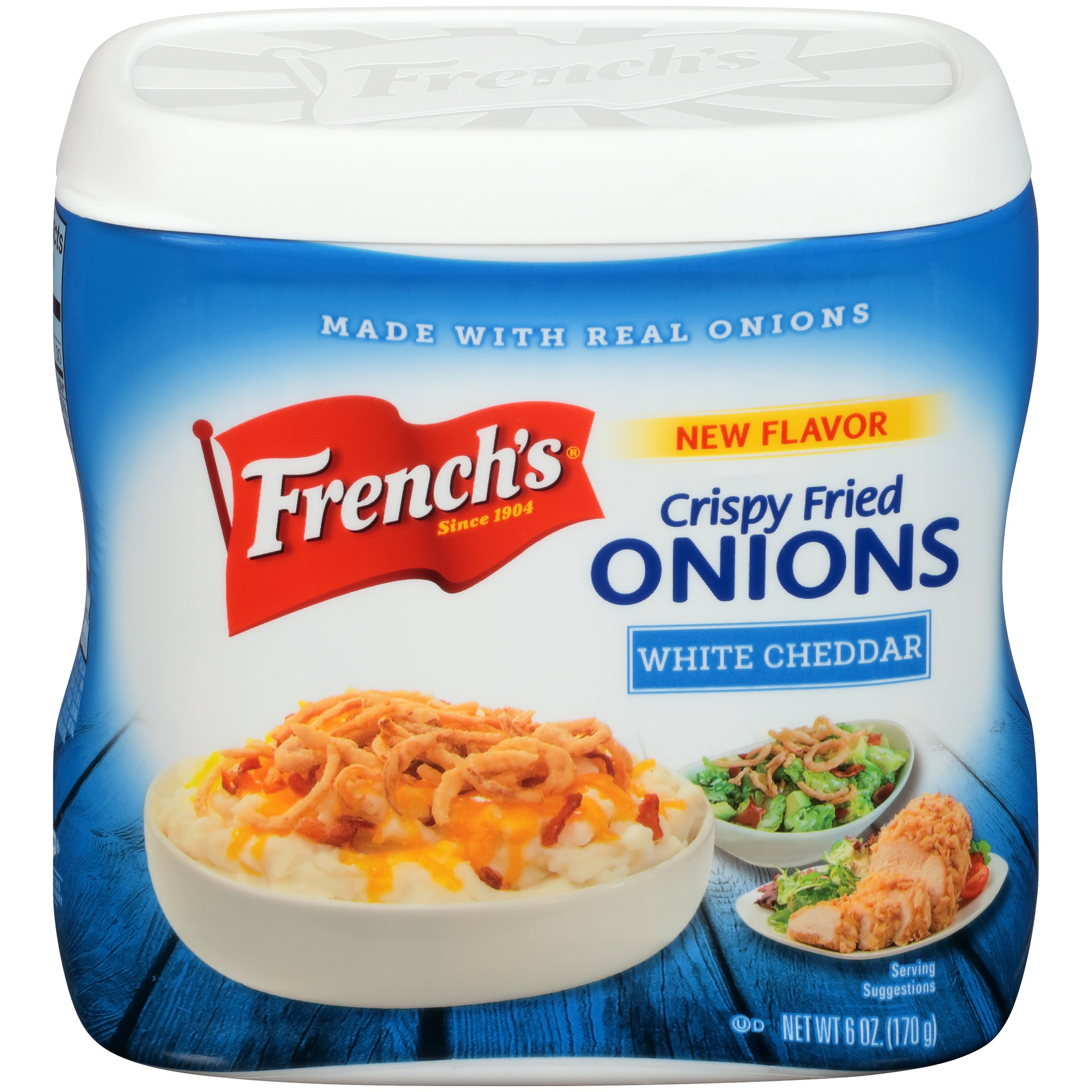 French's White Cheddar Crispy Fried Onions, 6 oz, White Cheddar-Flavored Onion Topping by French's