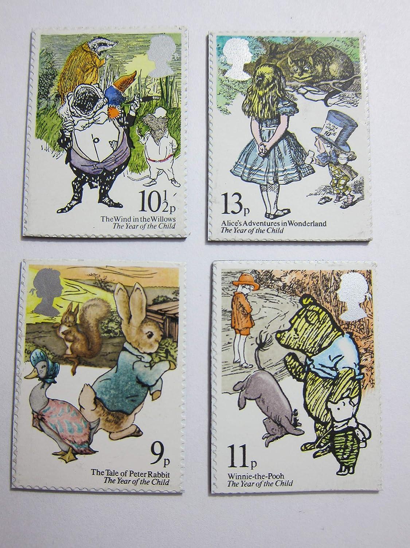 Classic Book Magnets Postage Stamp Set of 4 Fridge Magnets Item#J50