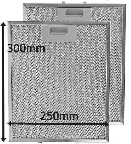 SPARES2GO Campana Extractora Campana de metal Red Filtro Antigrasso para cocina Extractor Fan Vent (Pack de 2 filtros, Plata, 300 x 250 mm): Amazon.es: Hogar