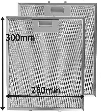 Spares2go Malla Metálica Filtro para Samsung campana extractora/cocina Extractor Ventilación (Pack de 2 filtros, Plata, 300 x 250 mm): Amazon.es: Hogar