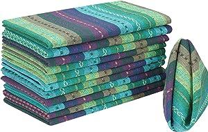 Cloth Napkin in Salsa Teal Multi Stripe Fabric-18x18,Wedding Napkins, Cocktails Napkins, Fabric Napkins, Cotton Napkins Mitered Corners & Generous Hem, Machine Washable Dinner Napkins, Set Of 12