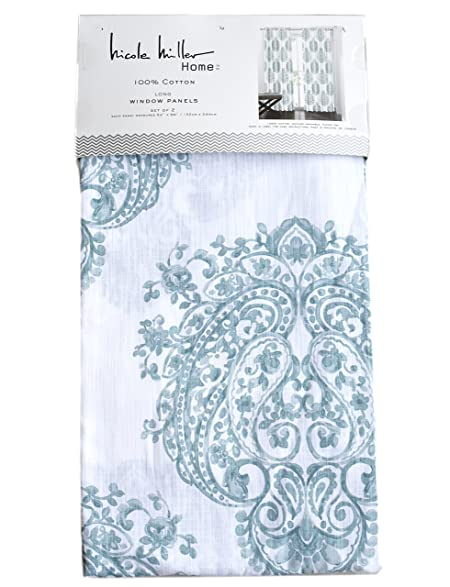 Nicole Miller Home Light Teal Paisley Medallions Window Panels 52 By  96 Inch Set Of