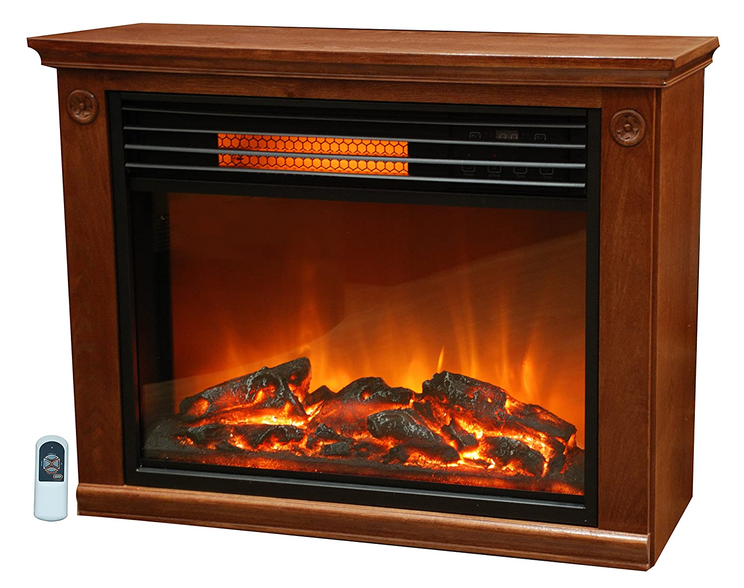 Quartz Infrared Fireplace Heater in Burnished Oak