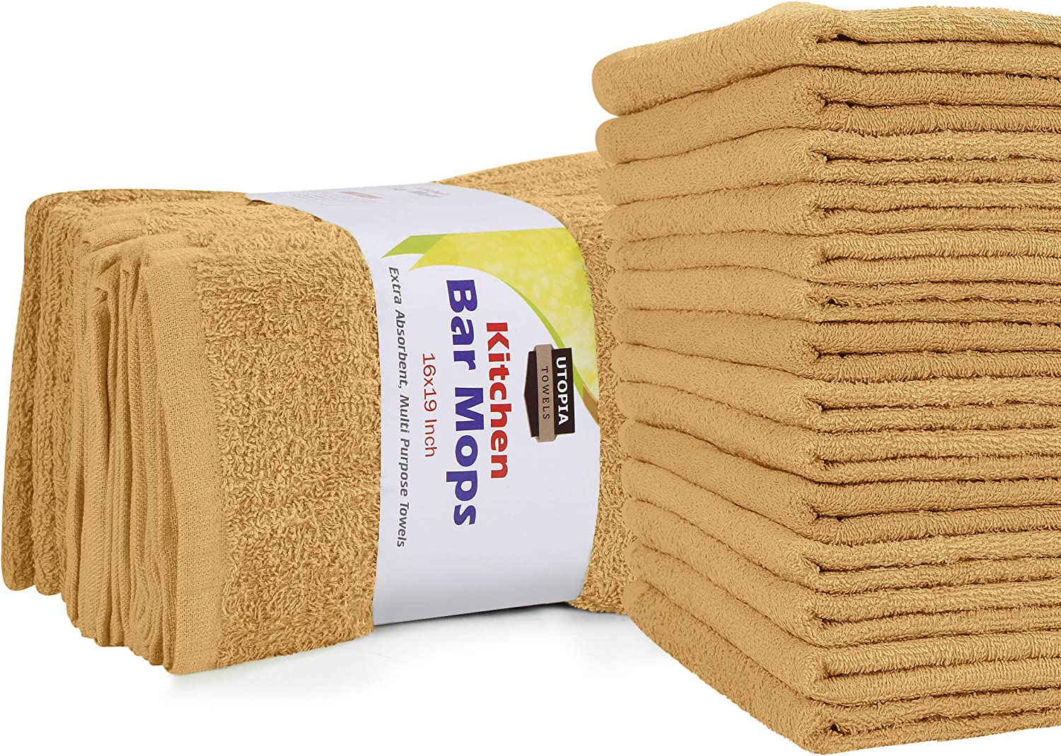 Utopia Towels Kitchen Bar Mops Towels, Pack of 12 Towels - 16 x 19 Inches, 100% Cotton Super Absorbent Beige Bar Towels, Multi-Purpose Cleaning Towels for Home and Kitchen Bars