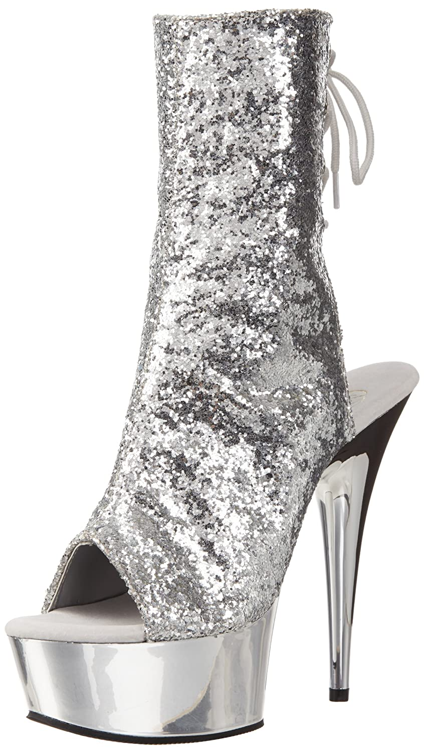 Pleaser Women's Delight-1018 Boot B00ADIR6Y2 14 B(M) US|Silver Glitter/Silver Chrome