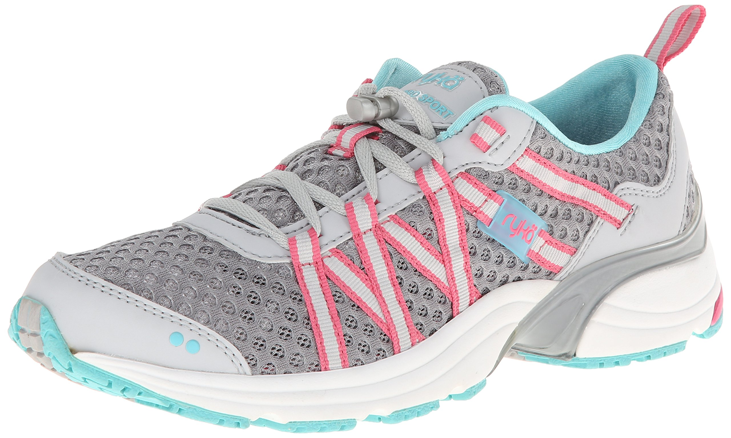 RYKA Women's Hydro Sport Water Shoe Cross Trainer, Silver Cloud/Cool Mist Grey/Winter Blue/Pink 5 M US