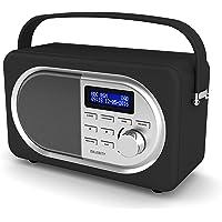 Majority Shelford II Vintage rétro - Numérique Dab/Dab+ - FM Radio - Alimentation sur Secteur et Batterie portative - Double Réveil à Alarme - Snooze Fonction