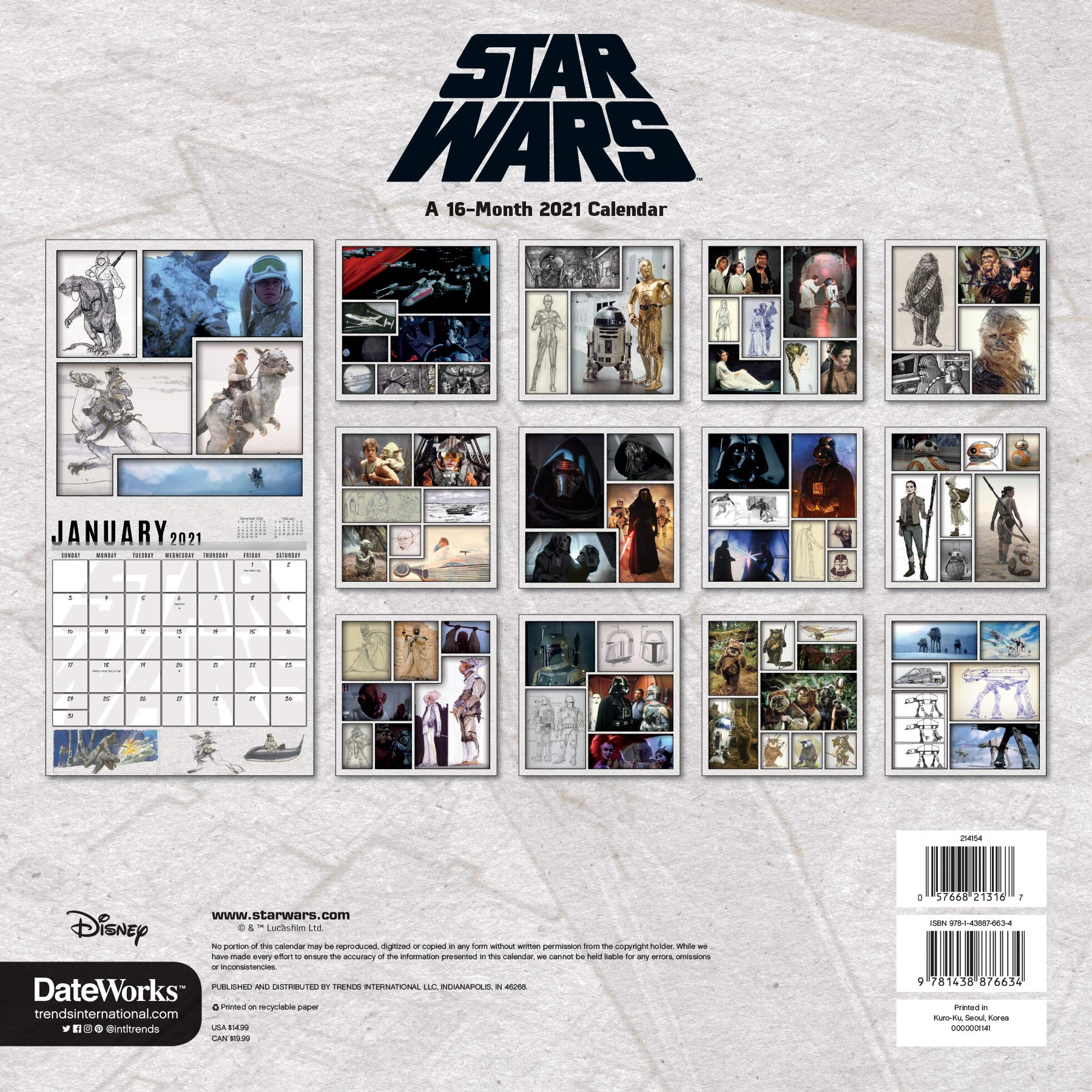 Star Wars 2021 Calendar 2021 Star Wars Wall Calendar: Trends International: 9781438876634