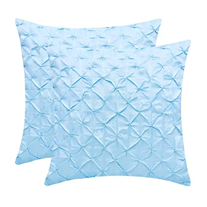 The White Petals Light Blue Throw Pillow Covers (Faux Silk, Pinch Pleat,  24x24 inch, Pack of 2)