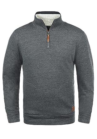 weltweite Auswahl an Luxus groß auswahl Blend Tedius Herren Sweatshirt Pullover Troyer Mit Stehkragen Und  Teddy-Futter Meliert