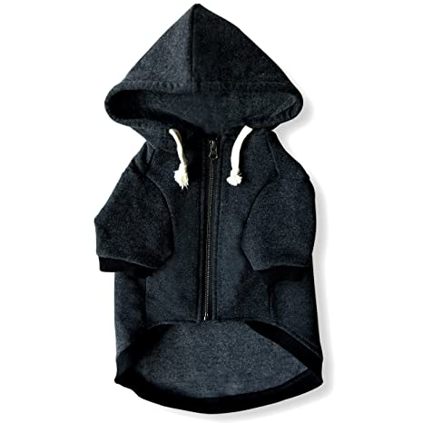 844b02a5c9 Ellie Dog Wear Charcoal Gray Adventure Zip Up Dog Hoodie with Hook   Loop  Pockets and Adjustable Drawstring Hood - Size XXS to XL Available -  Comfortable ...