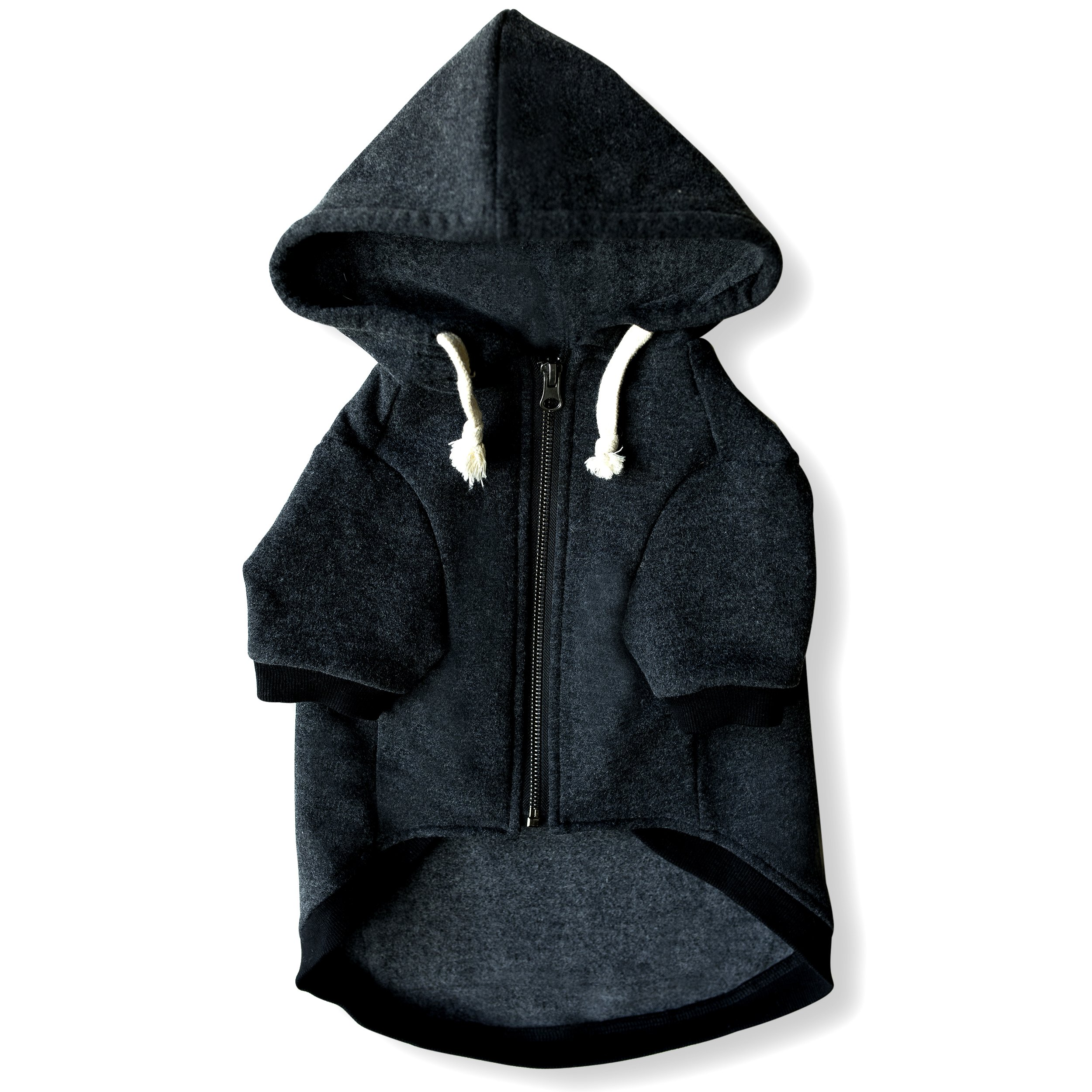 Ellie Dog Wear Zip Up Adventure Charcoal Grey Dog Hoodie with Hook & Loop Pockets and Adjustable Drawstring Hood - XXS to XXL Available - Comfortable & Versatile Premium Dog Hoodies (XS)