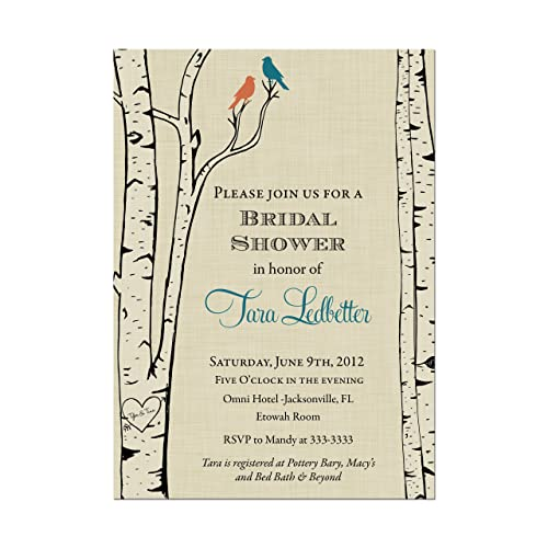 love bird birch tree bridal shower invitations any color birds base price is for