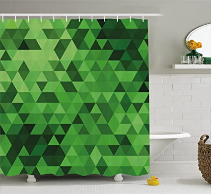Lunarable Hunter Green Shower Curtain By Digital Triangles In Different Shades Of Mosaic Crystals Geometric
