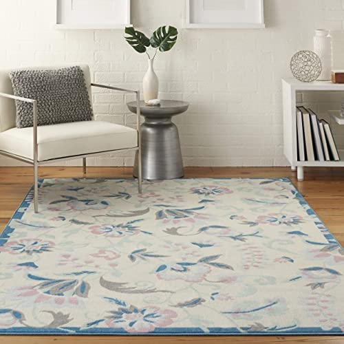 Nourison Jubilant Floral Casual Ivory Multicolor Area Rug 4 x 6