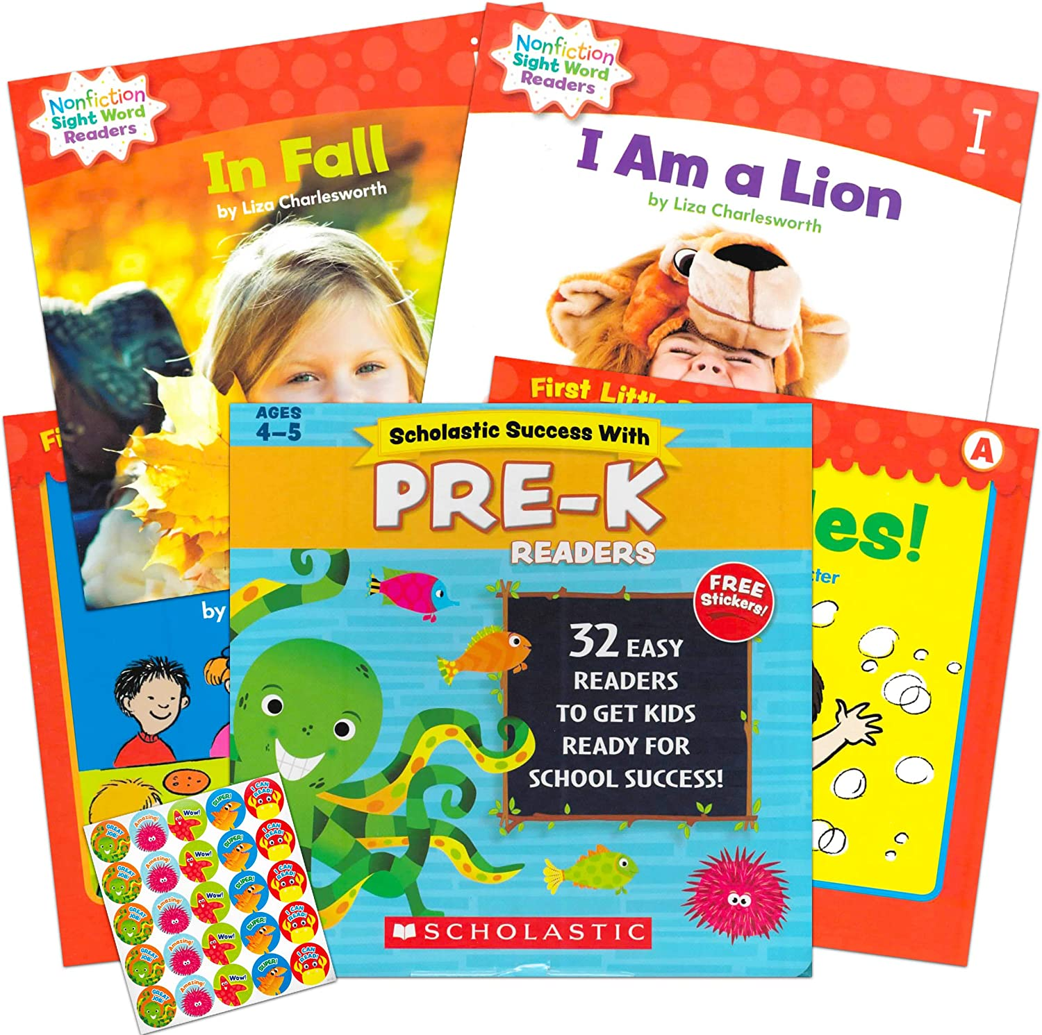 Scholastic Pre-K Reading Books Age 4-5 ~ 32 Pack Leveled Readers for Preschoolers with Reward Stickers