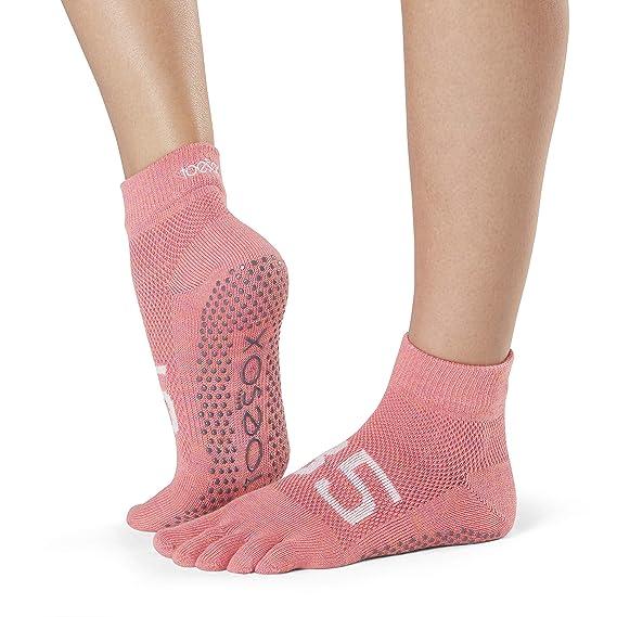 Toesox Grip Pilates Barre Socks-Non Slip Ankle Full Toe For ...