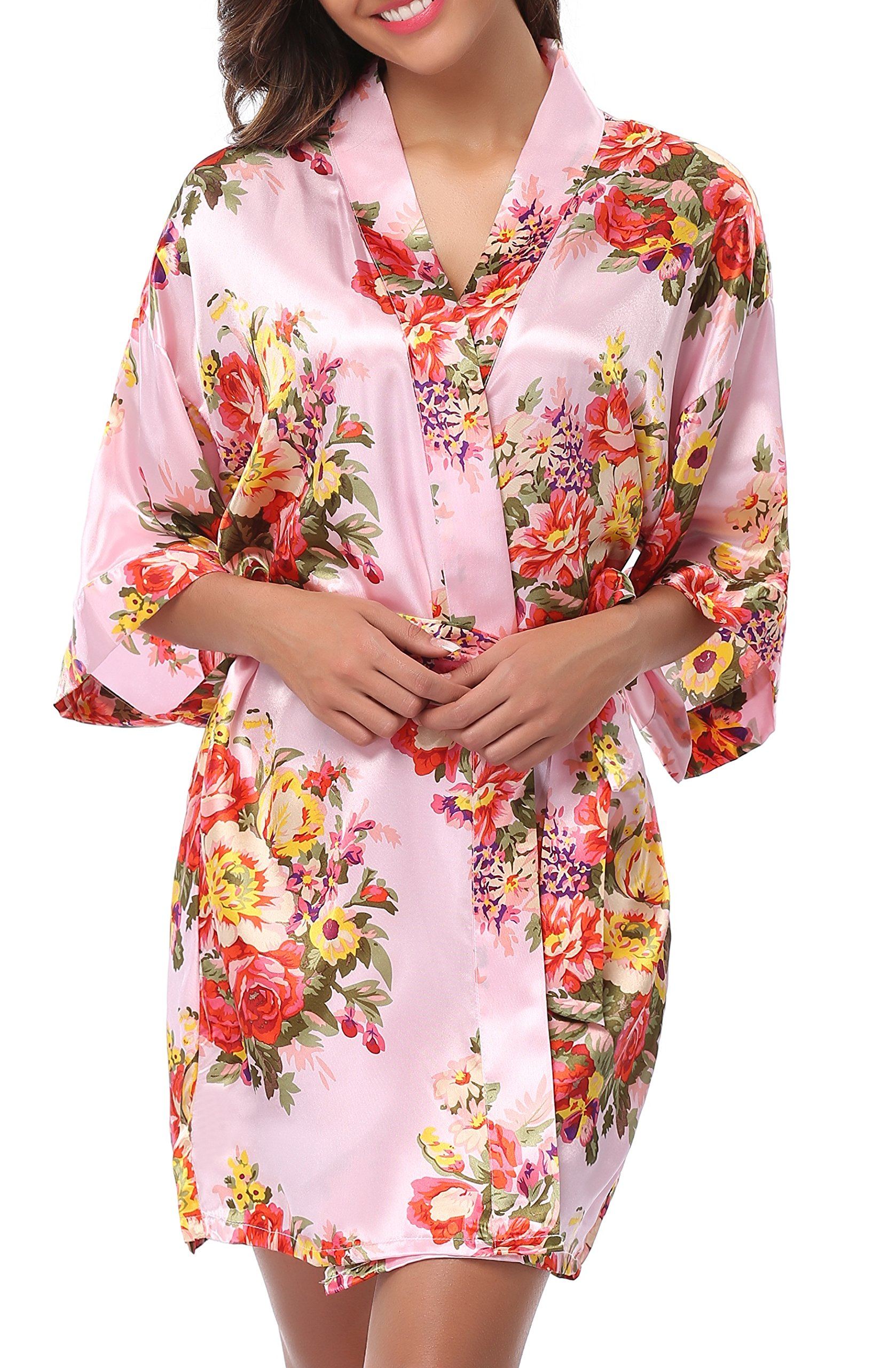 1stmall Floral Satin Kimono Short Style Bridesmaids Robes for Women Pink-L