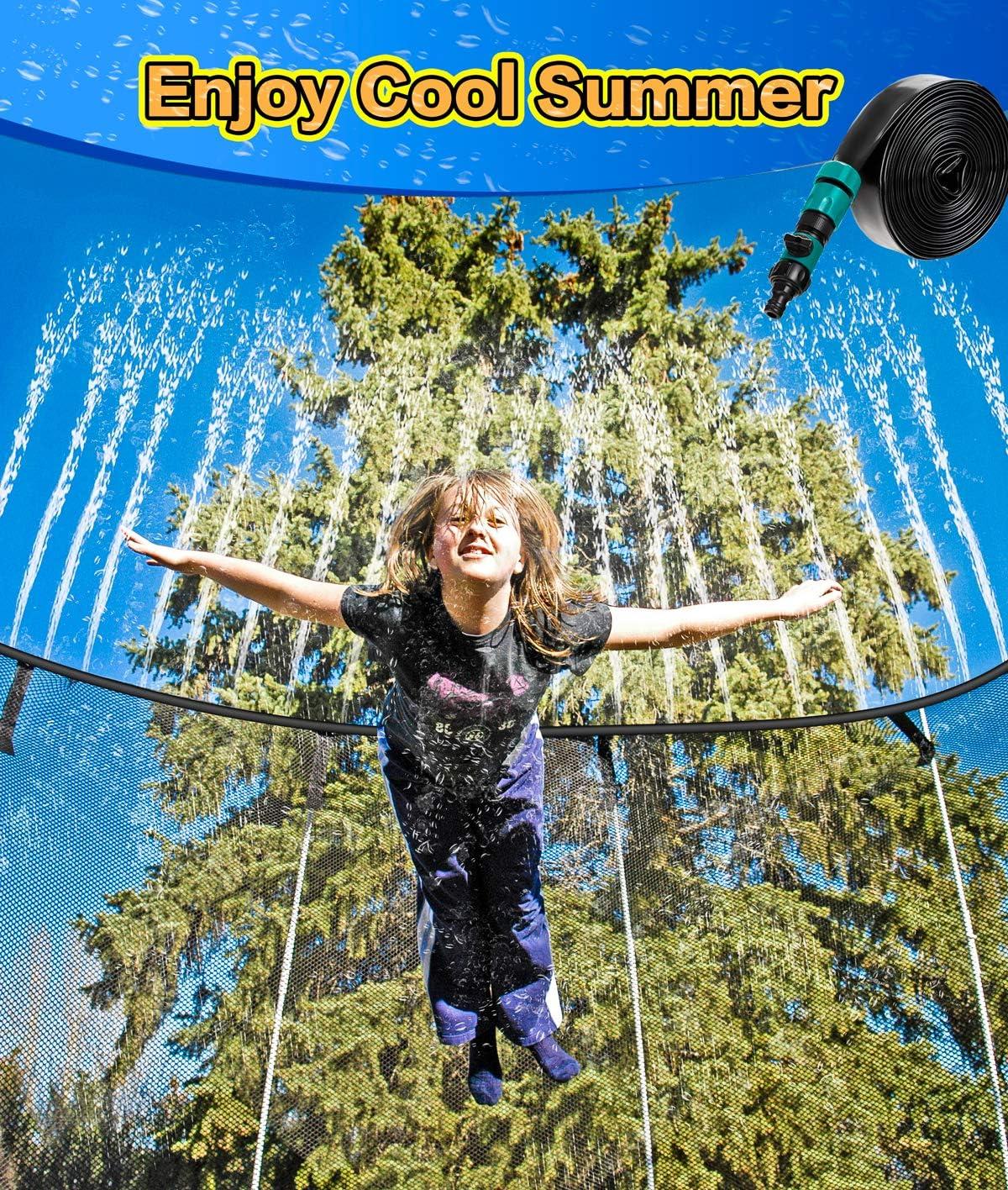 BMAG Trampoline Sprinkler, Party Outdoor Trampoline Sprinkler Water Park for Kids, Fun Cooling Summer Sprinkler Yard Games Water Toys, Backyard Water Park Sprinkler for Boys and Girls 39 ft