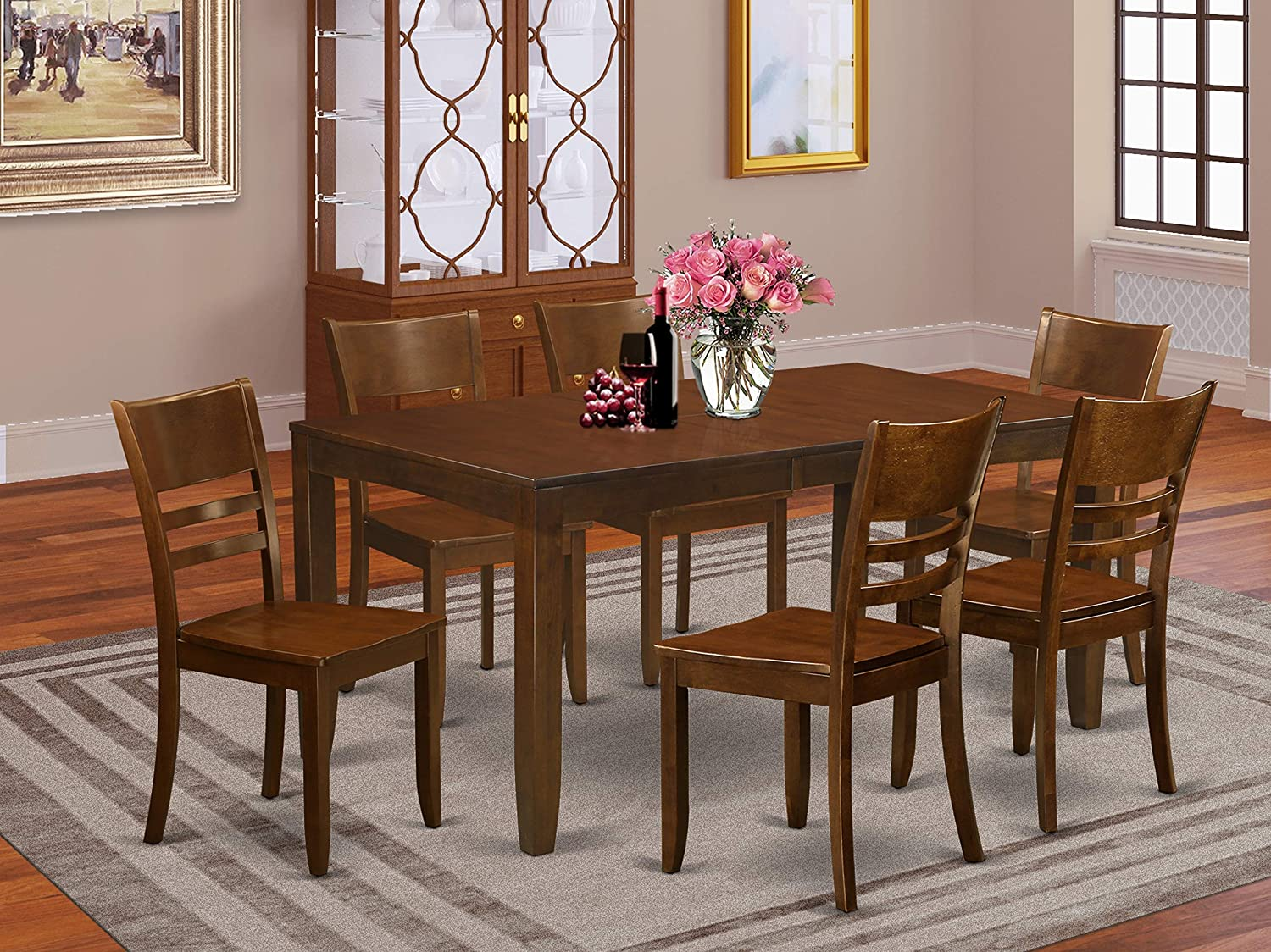 Amazon Com 7 Pc Dining Room Set Kitchen Tables With Leaf And 6 Kitchen Dining Chairs Furniture Decor
