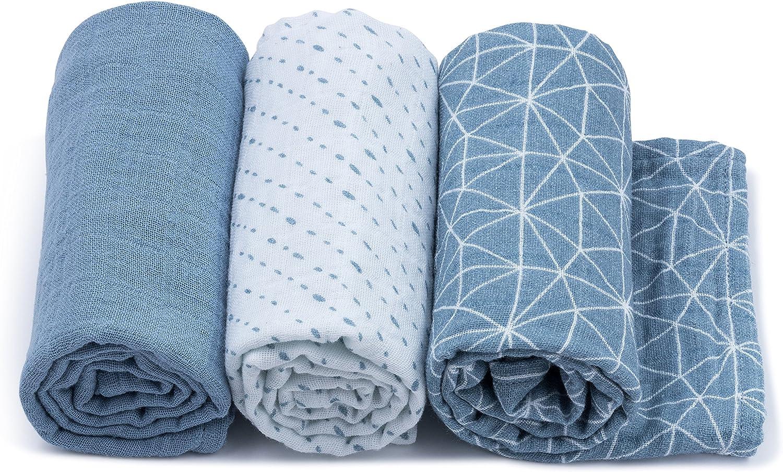 Pack de 3 Bleu Urban Kanga Langes Coton B/éb/é 70 X 70 cm en Tissu de Mousseline