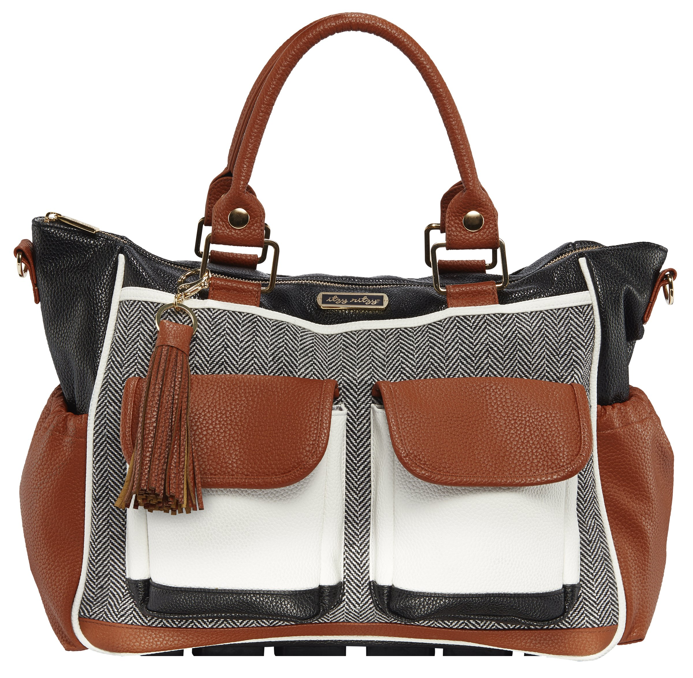 Itzy Ritzy Triple Threat Convertible Diaper Bag – Converts from a Tote to a Messenger Bag to a Backpack Diaper Bag; Includes 13 Total Pockets, Matching Stroller Straps & Changing Pad, Coffee & Cream
