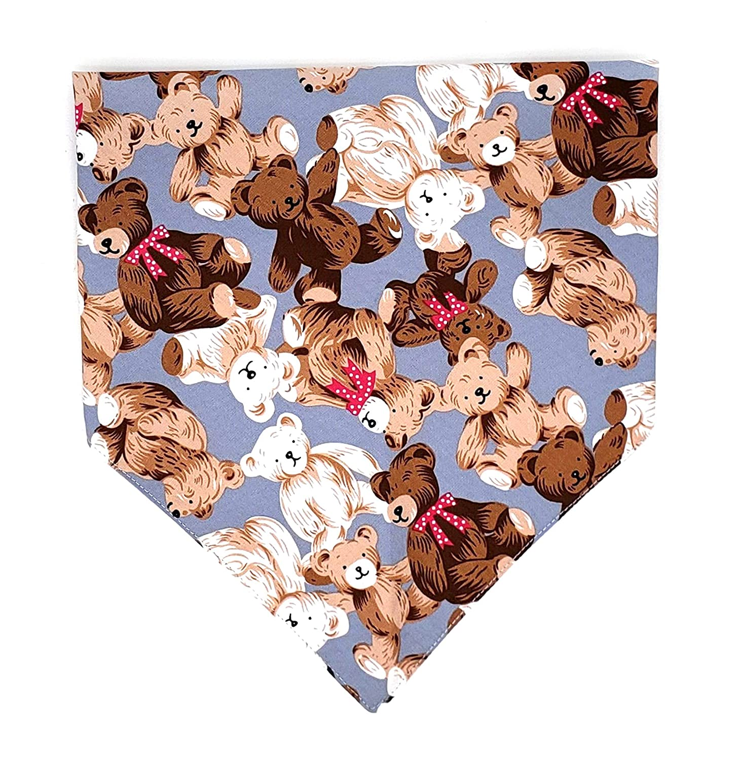 Teddy Bear Print Reversible Dog Cat Puppy Bandana Bib Triangle Scarf for Small to Large Breed (Large Size)