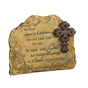 Roman Exclusive Memorial Garden Stone with a Cross and Verse, 8.50-Inch, Made of Resin Stone