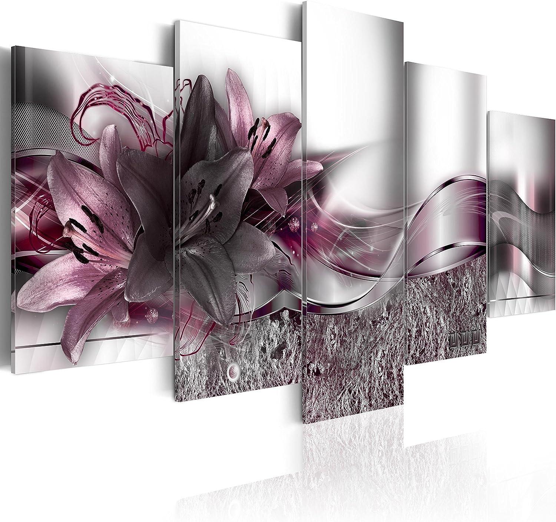 murando – Cuadro Flores Lirios 200x100 cm Flores Impresión de 5 Piezas Material Tejido no Tejido Impresión Artística Imagen Gráfica Decoracion de Pared – Naturaleza Abstracto b-A-0273-b-p