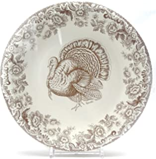 NEW Spode Woodland Turkey Thanksgiving COATED PAPER Luncheon Dessert Plates 8 Ct
